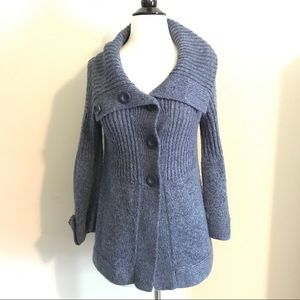 Heather Blue Cowl Neck Button-up Cardigan Sweater